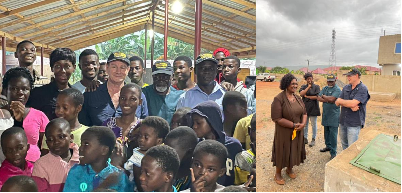 Fig 1 and 2: Dave Harper, boxing legend Professor Azumah Nelson and actress and TV presenter Ama K. Abebrese with kids (left) and liaising with Dr Jane Irina Adu